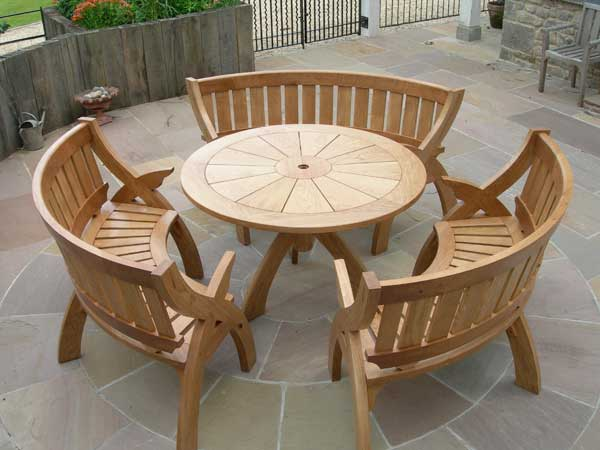 oak outdoor table and benches