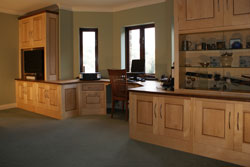 Fitted office in maple with walnut inlay